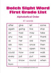 1st grade dolch word list - alphabetical order