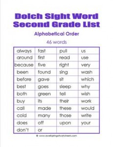 2nd grade dolch word list - alphabetical order