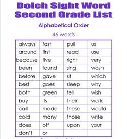 Second Grade Sight Words - Dolch Sight Words & Fry Words