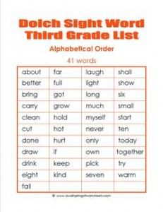 3rd grade dolch word list - alphabetical order