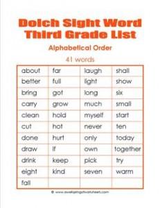 3rd grade dolch word list - alphabetical order