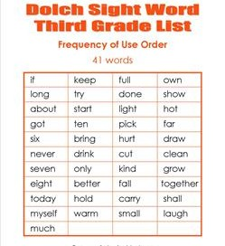 3rd grade dolch word list - frequency order
