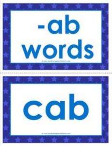 cvc word cards -ab words