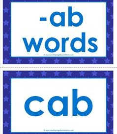 cvc word cards -ab words