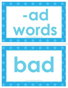 cvc word cards -ad words