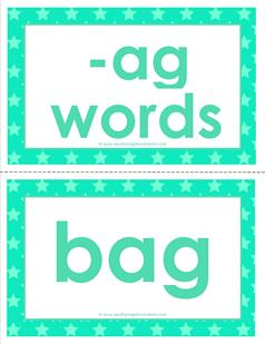 cvc word cards -ag words