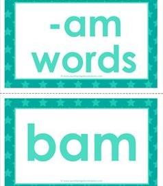 cvc word cards -am words