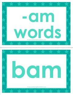 cvc word cards -am words