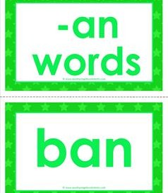 cvc word cards -an words