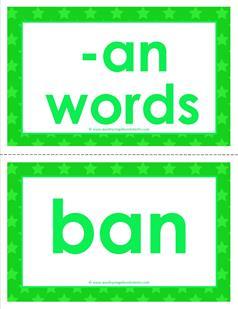 cvc word cards -an words