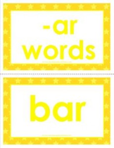 cvc word cards -ar words