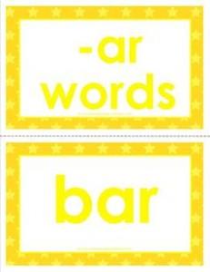 cvc word cards -ar words
