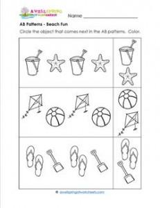 AB Patterns - Beach Fun! - Patterns Worksheets