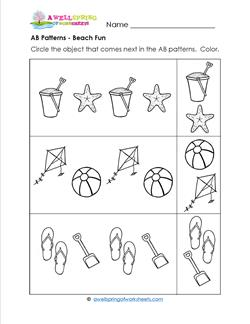 Ab Patterns Beach Fun on kindergarten math worksheets can go