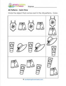 AB Patterns - Swim Time! - Patterns Worksheets