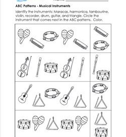 ABC Patterns - Musical Instruments - Patterns Worksheets