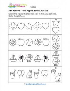 ABC Patterns - Apples,, Stars, Boats & Buckets - Patterns Worksheets