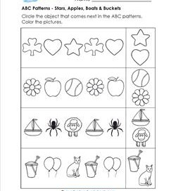 abc patterns  kindergarten pattern worksheets abc patterns  apples stars boats  buckets  patterns worksheets