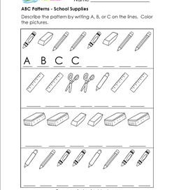 ABC Patterns - School Supplies - Patterns Worksheets