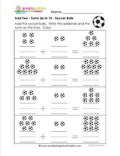 Add 2 Soccer Balls Kindergarten Adding Worksheets A