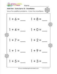 Adding 1 - Snowflakes - Kindergarten Adding Worksheets | A ...