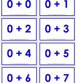 addition flash cards - 0s - sums to 10 - color