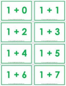 addition flash cards - 1s - sums to 10 - color