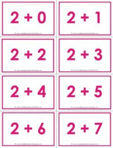 addition flash cards - 2s- sums to 10 - color flash cards