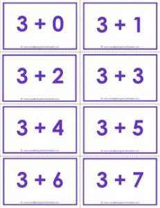 addition flash cards - 3s - sums to 10 - color flash cards