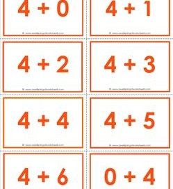 addition flash cards - 4s - sums to 10 - color flash cards