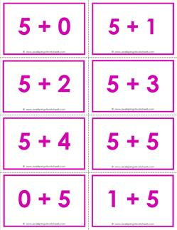addition flash cards - 5s -sums to 10 - color flash cards