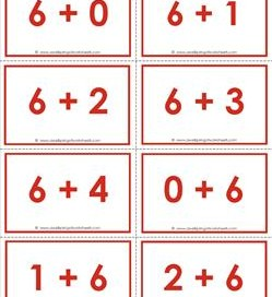 addition flash cards - 6s - sums to 10 - color flash cards
