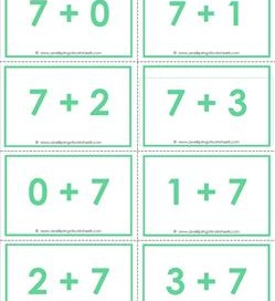 addition flash cards - 7s- sums to 10 - color flash cards