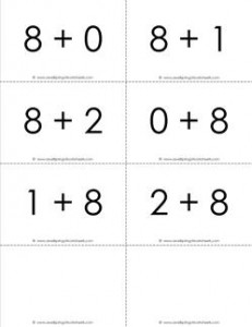 addition flash cards - 8s - sums to 10 - black and white flash cards