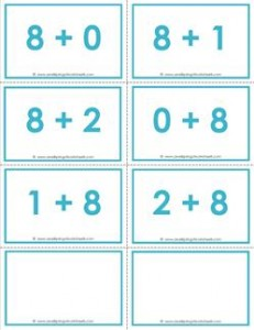 addition flash cards - 8s - sums to 10 - color