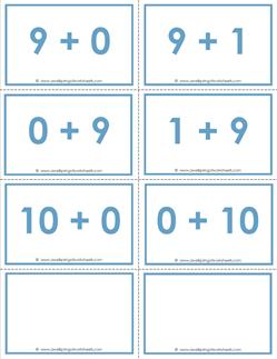 addition flash cards - 9s and 10s - sums to 10 - color