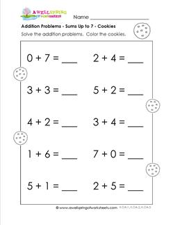 addition problems - cookies