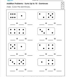 addition problems - dominoes
