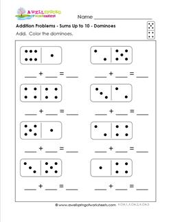 math worksheet : addition problems worksheets  kindergarten addition  dominoes : Domino Addition Worksheet