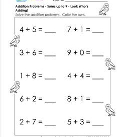addition problems - look whos counting