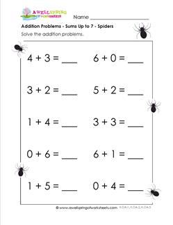 addition problems - spiders