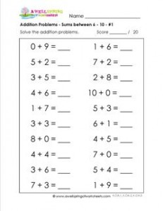 addition problems - sums between 6-10 - 1