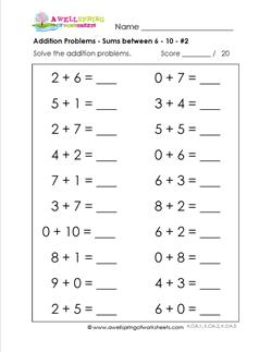 Printables Sums Of Addition sums of 10 worksheet davezan addition with pictures to worksheets worksheet