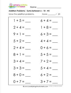 addition problems - sums between 6-10 - 3