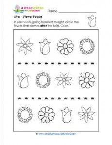 After - Flower Power - Positional Words Worksheets