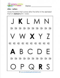 After - Letters - Positional Words Worksheets