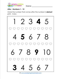 after - Numbers 1-10 - Positional Words Worksheets