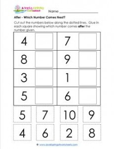 After - Which Number Comes Next? - Positional Words Worksheets