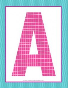 alphabet letter a - plaid and polka dot