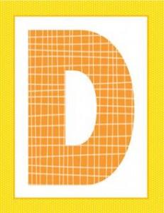 alphabet letter d - plaid and polka dot
